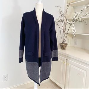 Anthropologie Lumiere Navy Long Sweater Coat L